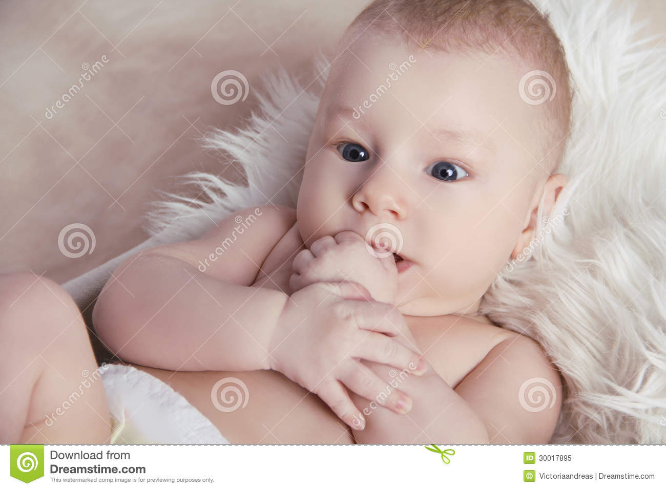 Close-up Of Portrait Funny Baby Lick His Fingers O Stock ...