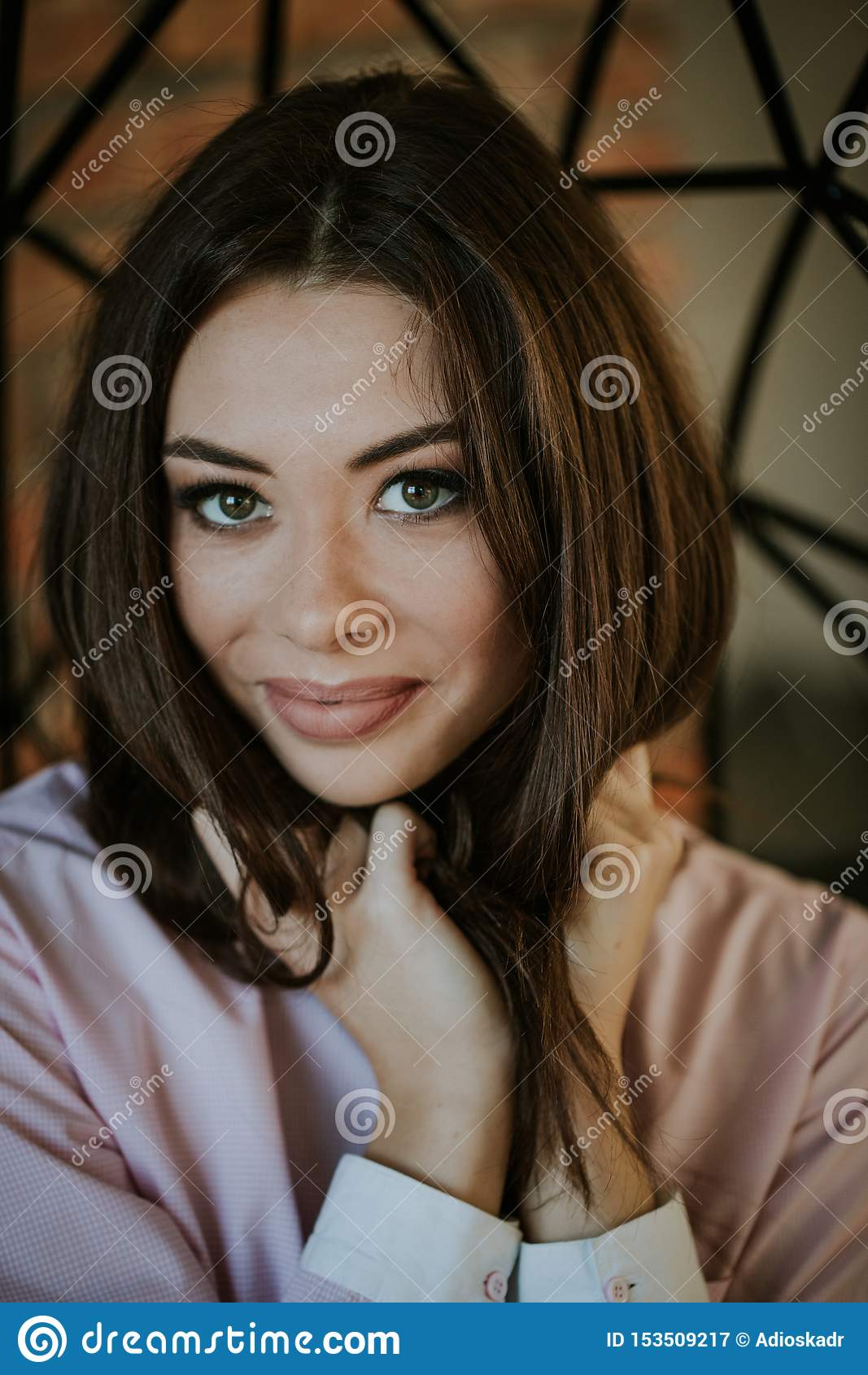 Close-up portrait of a girl in beauty salon