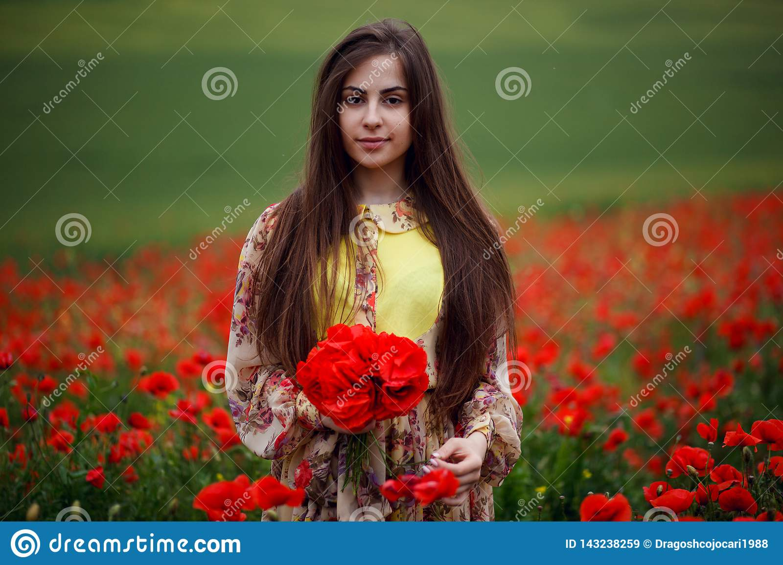 Close up portrait of hair long young woman with flower poppy, holdings in hands a bouquet of a red flowers