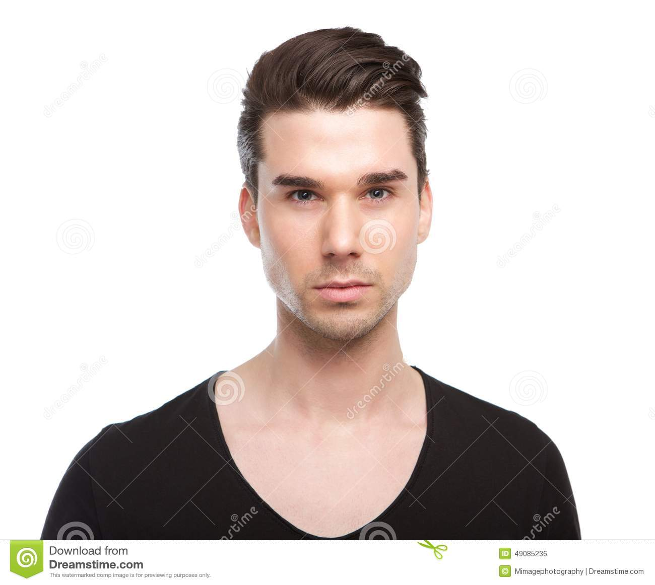Close Up Portrait Of A Handsome Male Fashion Model Stock