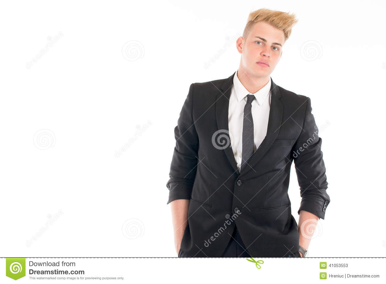 closeup portrait of a handsome young man in a business