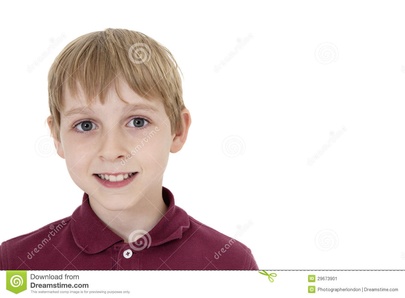 Stock Image: Close-up portrait of a happy pre-teen boy over white ...