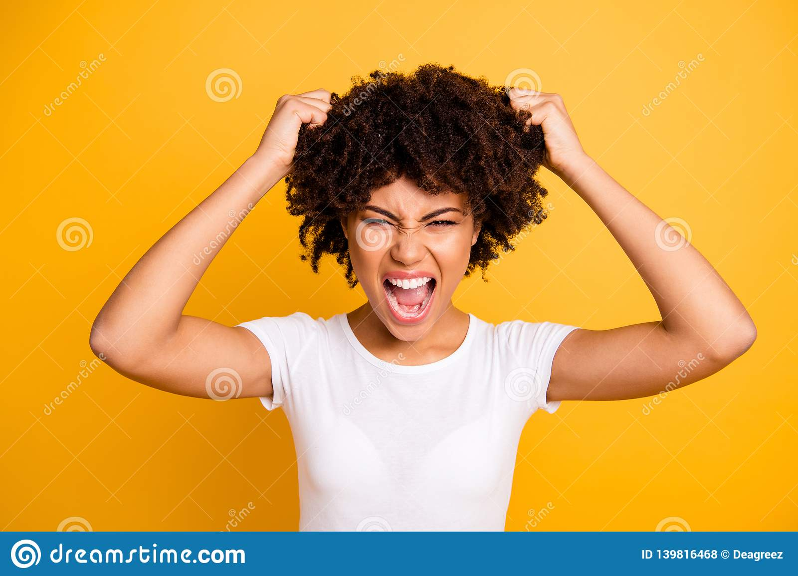 Close-up portrait of her she nice attractive miserable aggressive desperate nervous frustrated wavy-haired lady