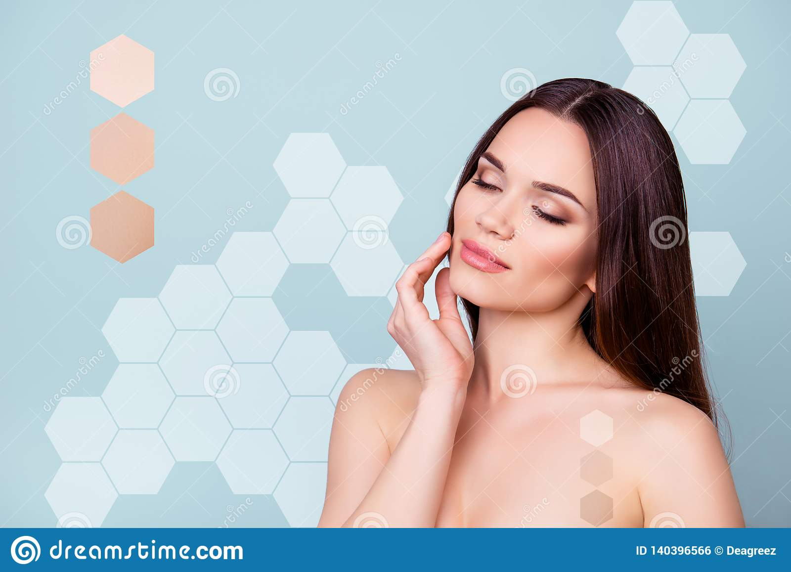 Close-up portrait of her she nice attractive perfect brunette dreamy lady touching gently healthy smooth soft clear skin