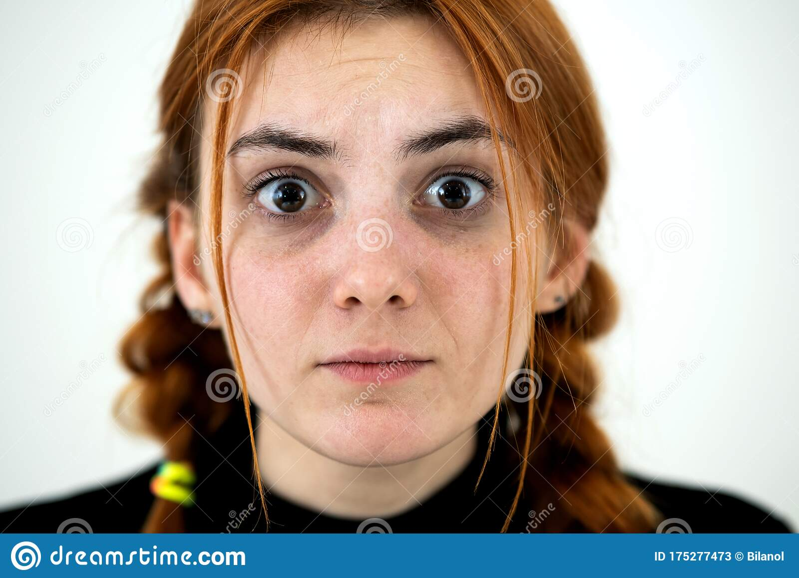 Close Up Portrait Of Redhead Pretty Teenage Girl Stock