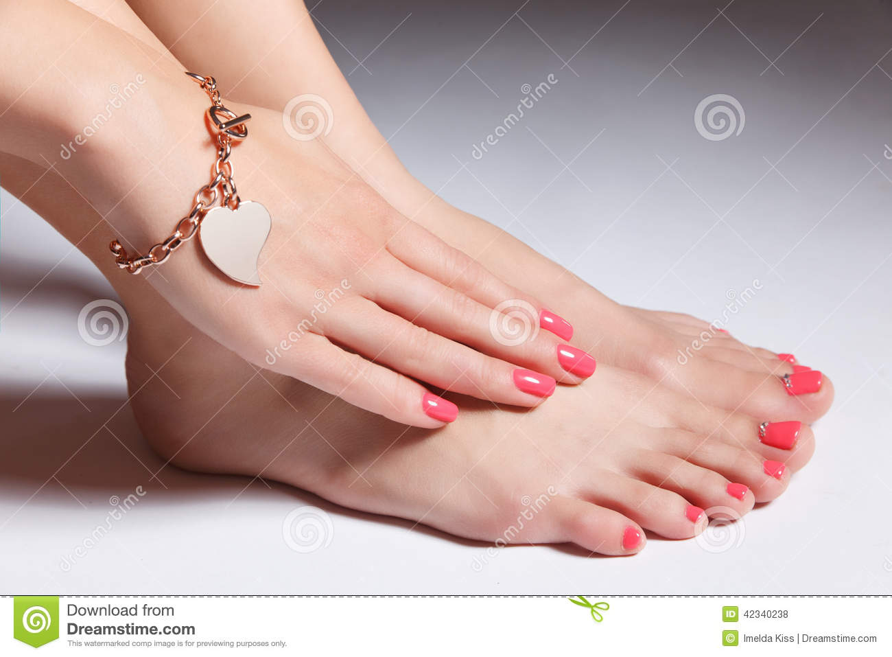 Close-up Portrait Of Manicured Nails And Pedicured Toes With Gel ...