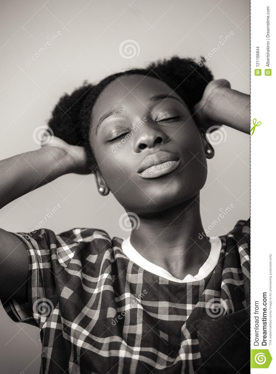 Close Up Portrait Odf Awesome African Lady Enjoying Her New
