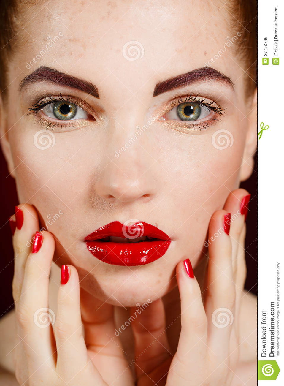 Close-up Portrait Of European Young Woman Model With