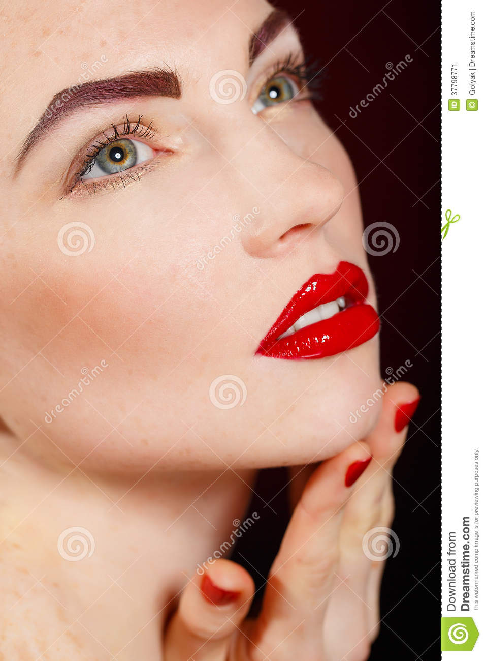 Glamour Makeup: Close-up Portrait Of European Young Woman Model With