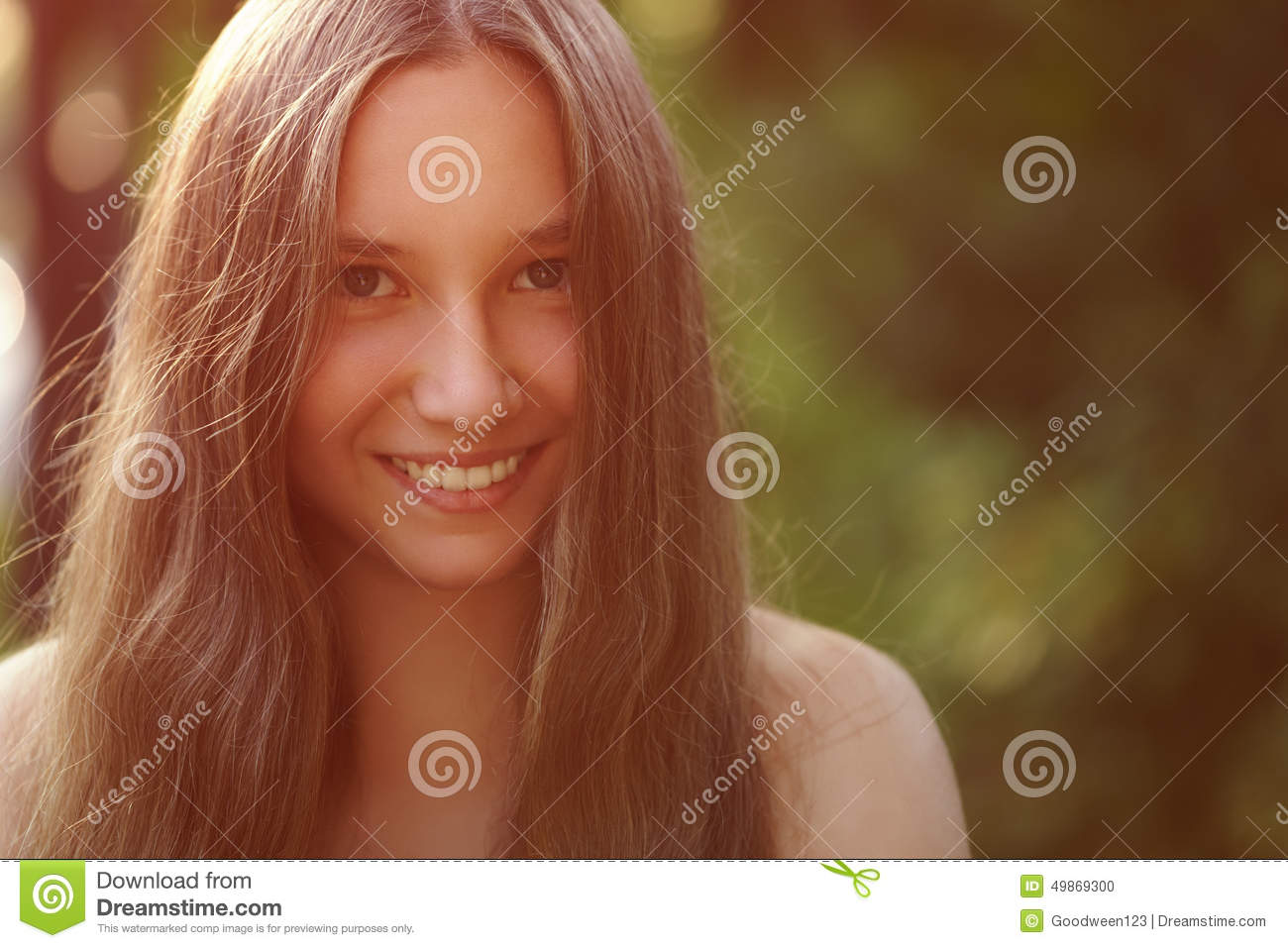 Close Up Portrait Of Teen Girl With Naked Stock Photo ...