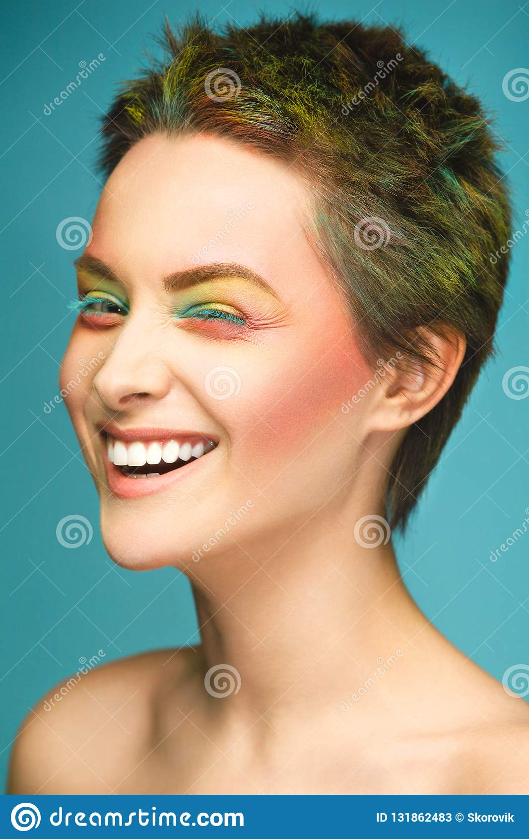 Close Up Portrait Of A Woman With Brightly Colored Hair And Rainbow Like Makeup Multi Colored Hair Beautiful Lips And Stock Image Image Of Pink Portrait 131862483