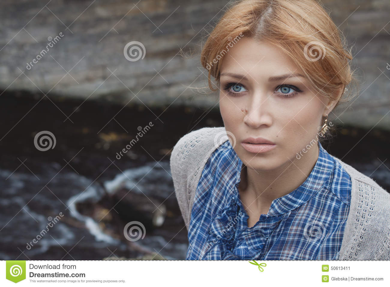 Close-up portrait of woman in retro style outdoor