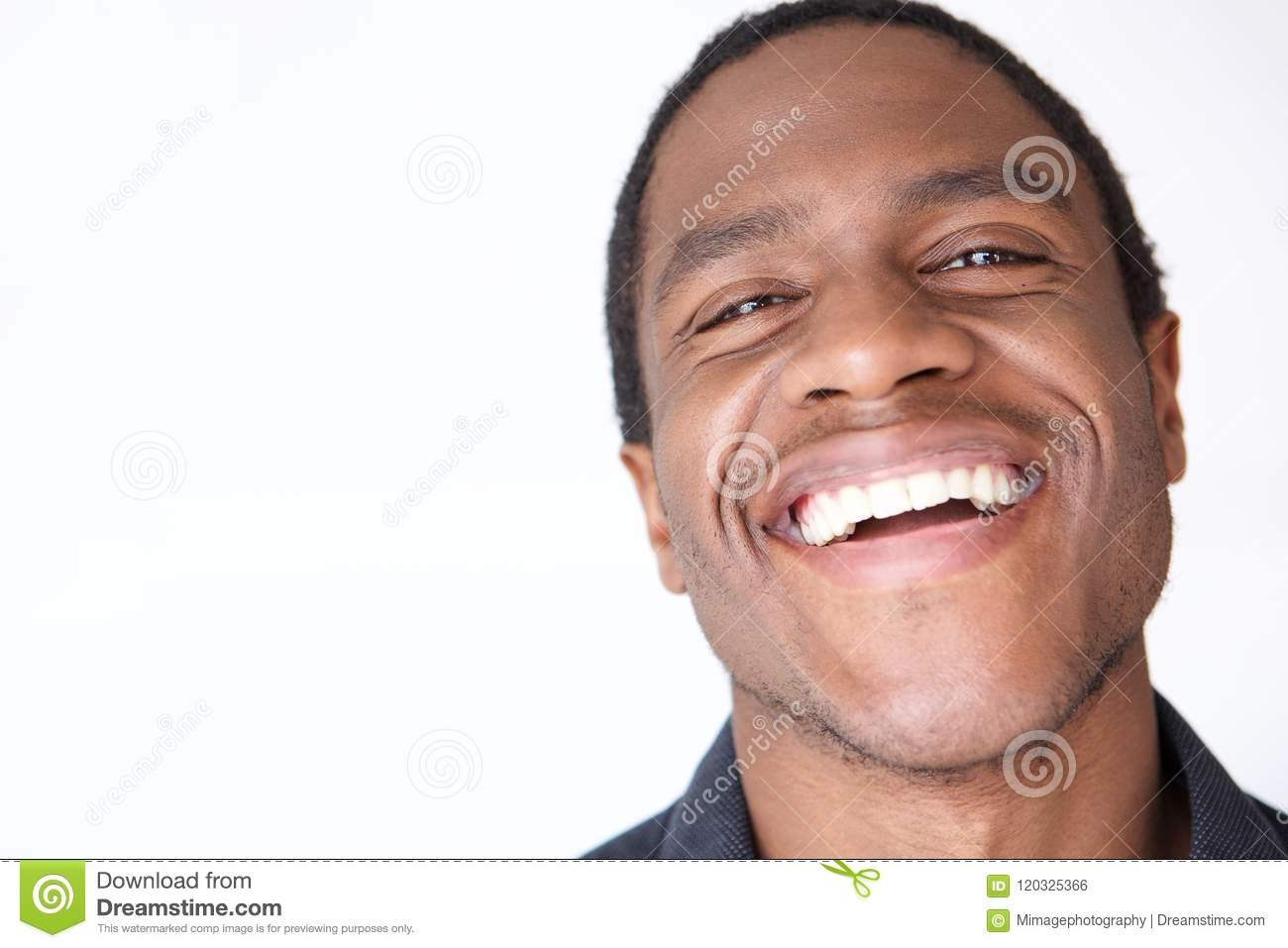 836841be31d Close up portrait of young african american man laughing against white  background