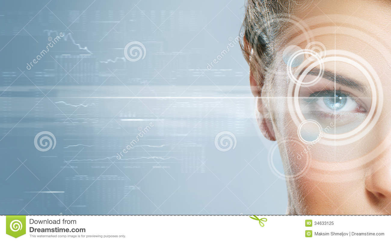 Close-up portrait of young and beautiful woman with the virtual