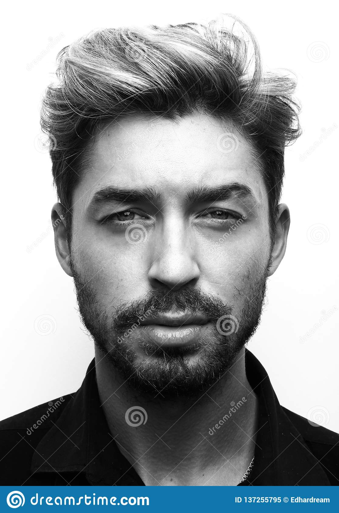 Close Up Portrait Of Young Man Black And White Stock Image Image Of Handsome Modern 137255795