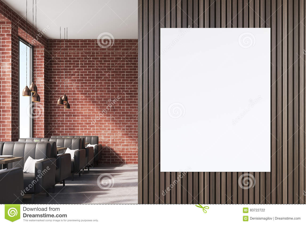 close up of a poster on brown cafe wall stock illustration - image