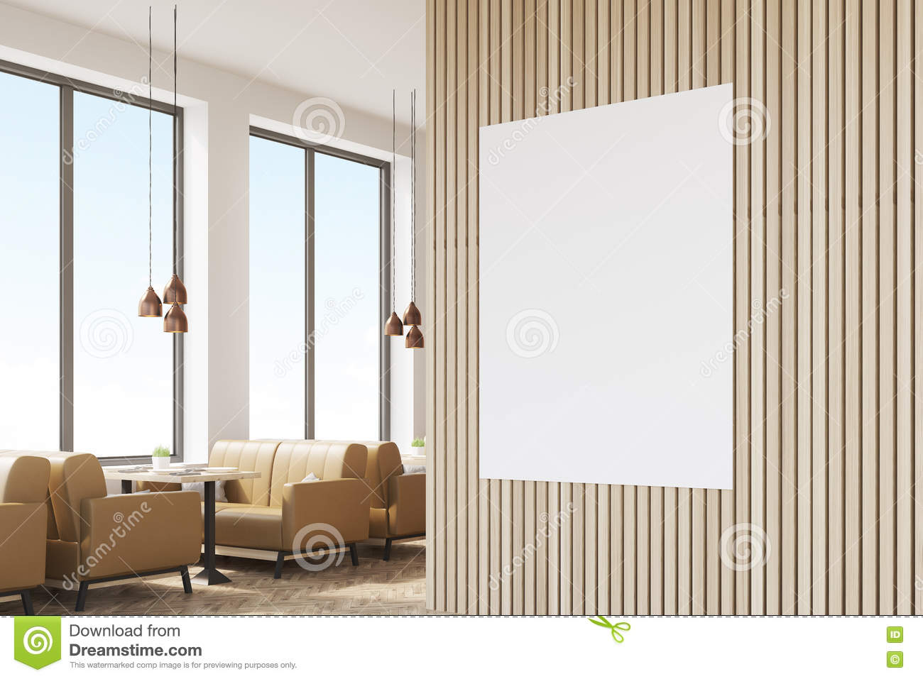 close up of poster in cafe with light walls stock illustration