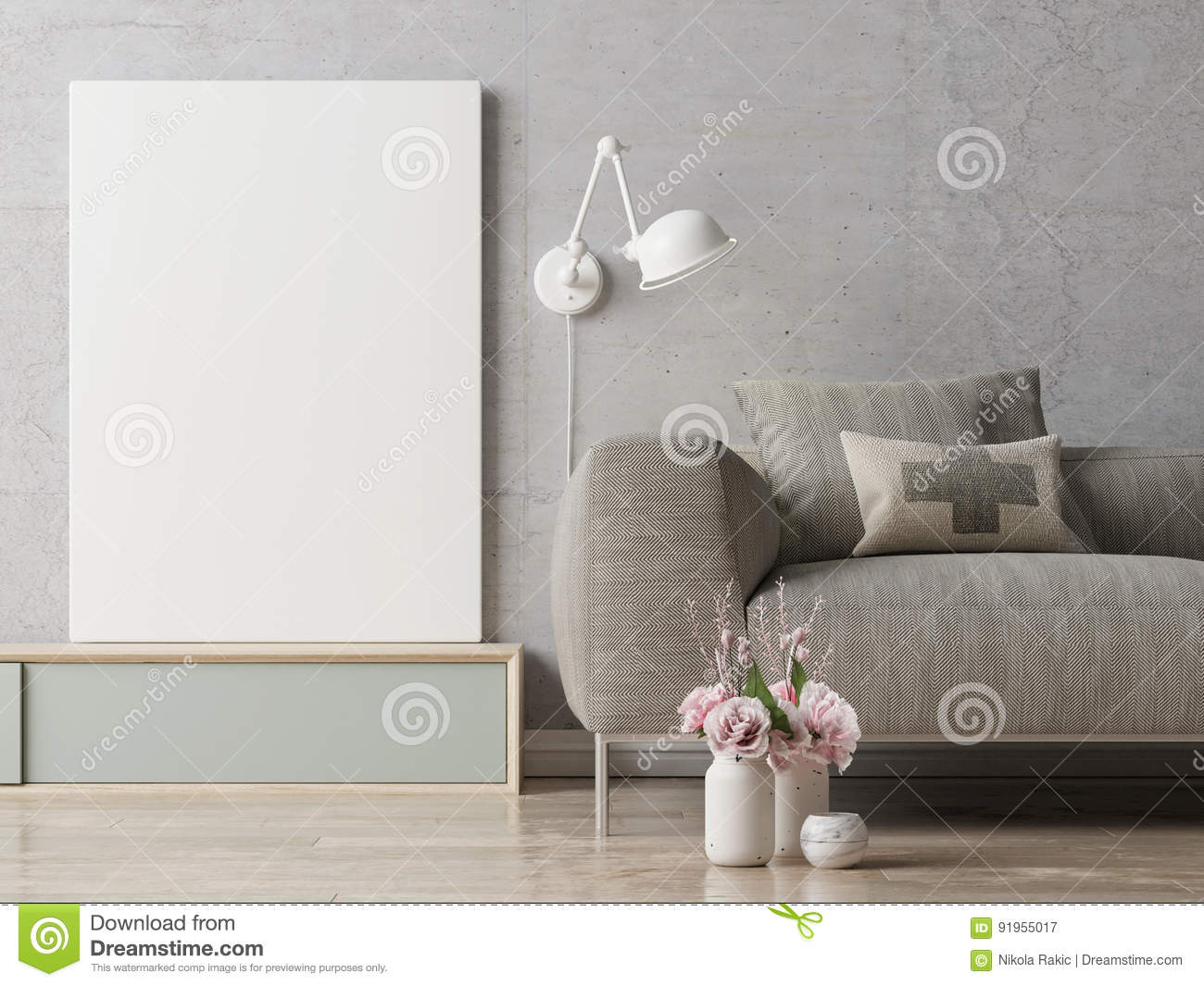 Close Up Poster On Hipster Living Room Background Stock Illustration