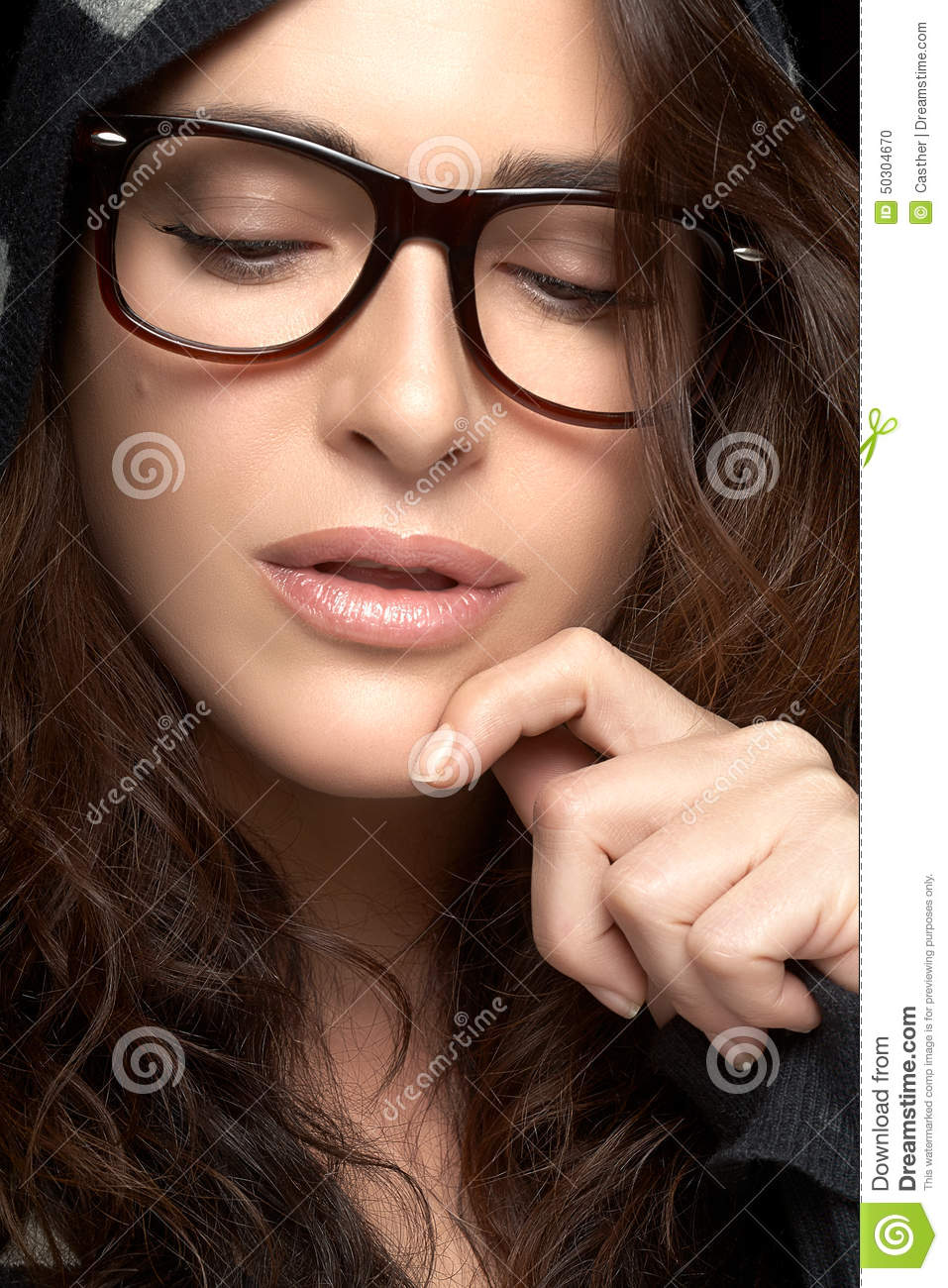 trendy eyewear hufo  Close up Pretty Woman Face with Glasses Cool Trendy Eyewear