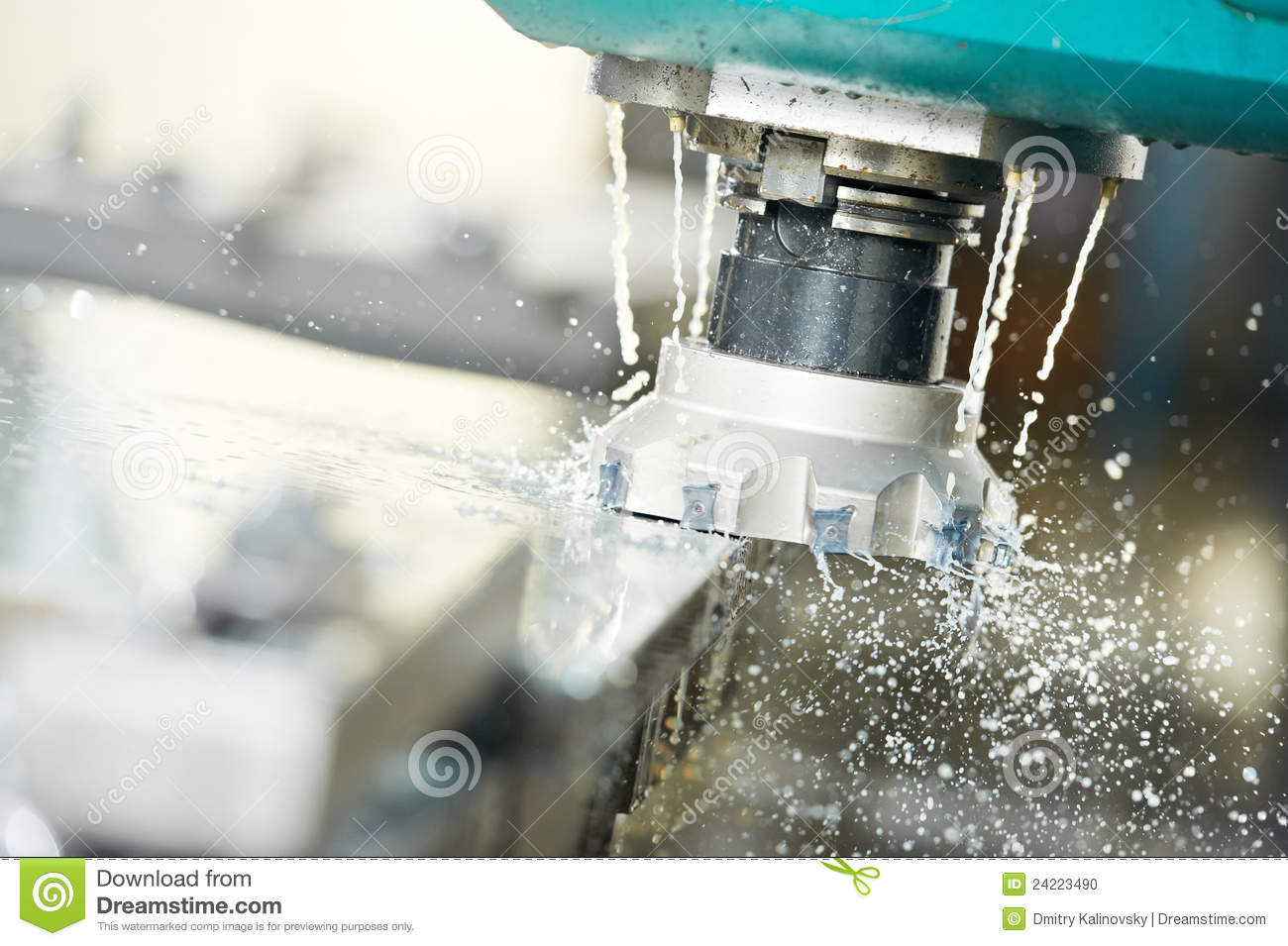 Close Up Process Of Metal Machining By Mill Stock Photo