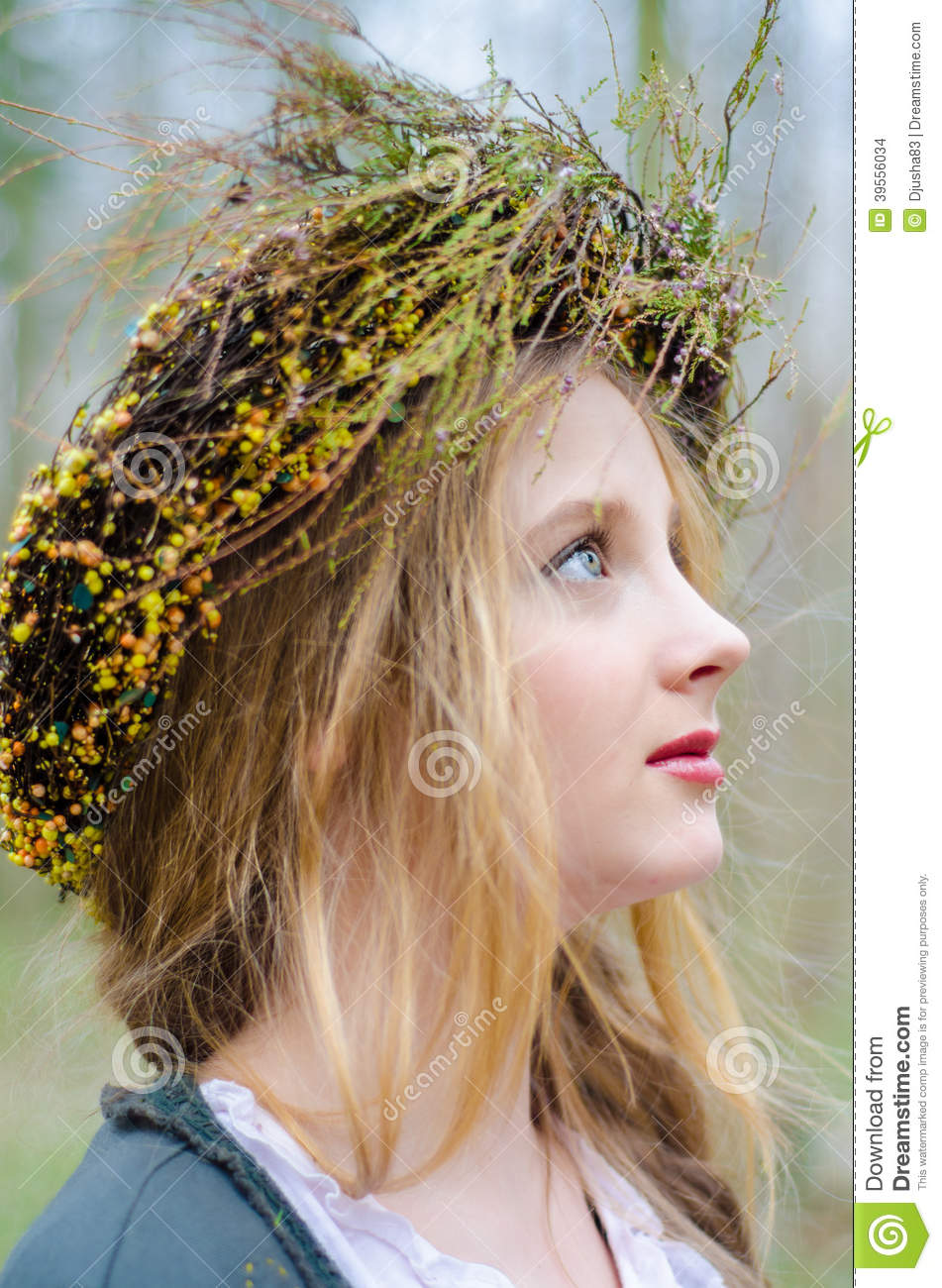 Close Up Profile Portrait Of A Girl In A Folk Medieval Style Stock ...