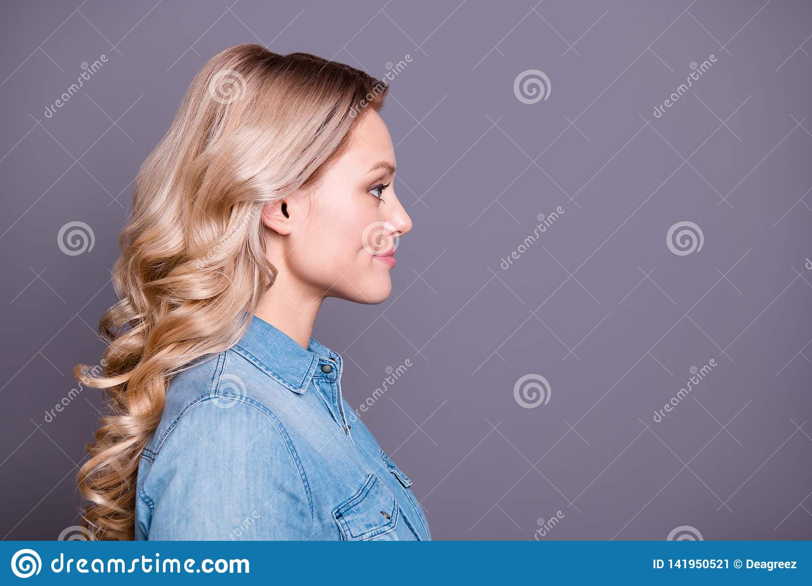 Close Up Profile Side View Portrait Of Her She Nice Cute Charming Fascinating Adorable Winsome Attractive Cheerful Stock Image Image Of Happy Casual 141950521