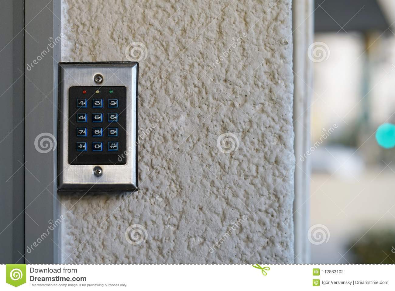 Close-up Push-button Lock Of Entrance Doors Stock Photo - Image of