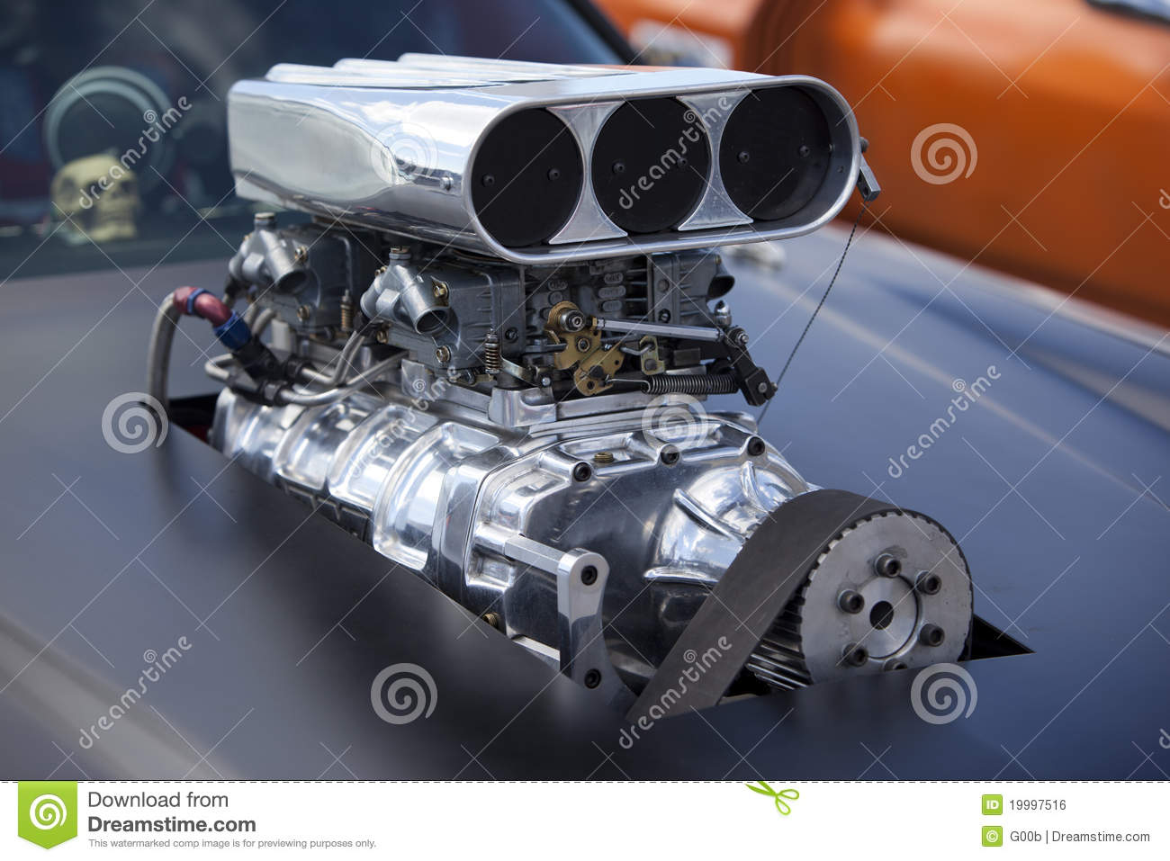 4.7 Dodge Motor >> Close Up On A Race Car Compressor Royalty Free Stock Image ...