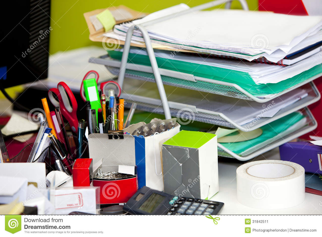 Closeup Of Real Life Messy Desk In Office Stock Image Image