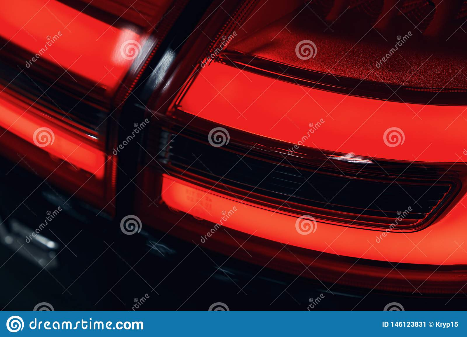 Close-up of the rear light of a modern car. Led optics