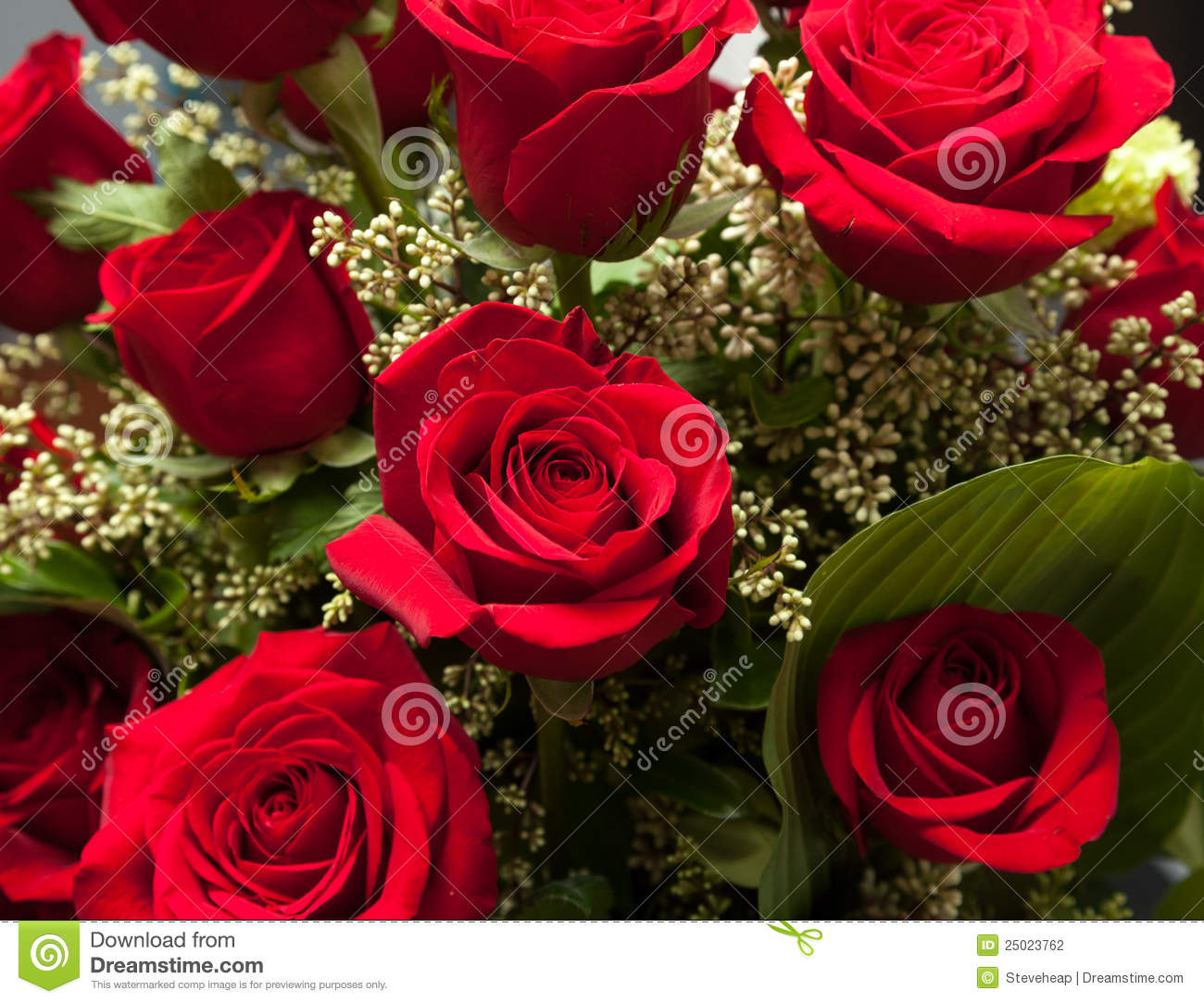 Close Up Of Red Rose Bouquet With Roses Stock Photo