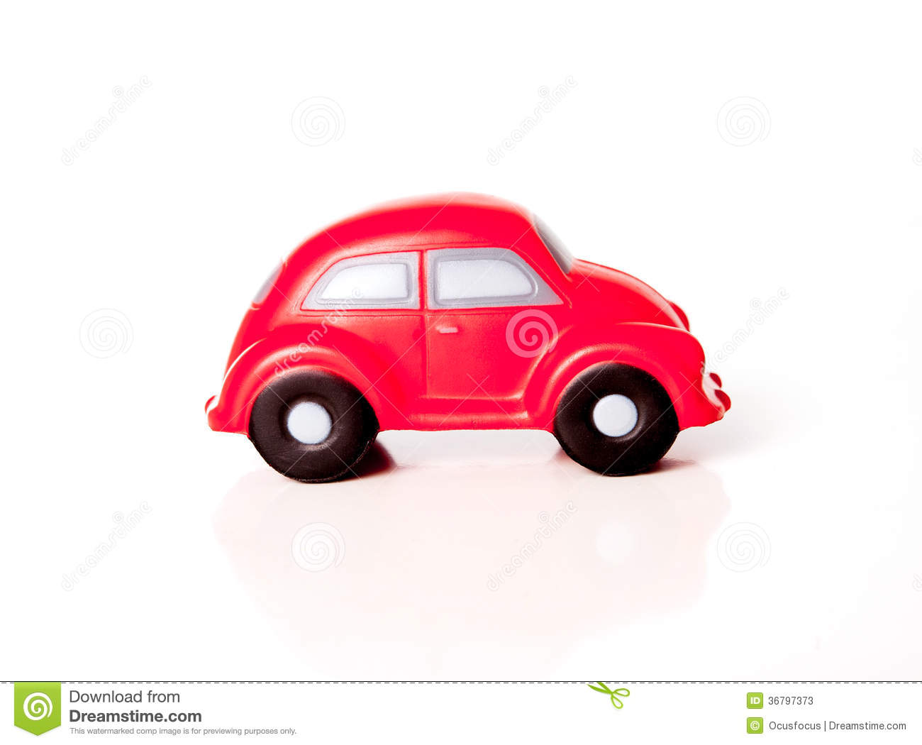 close-up of a red toy car on a white background stock image