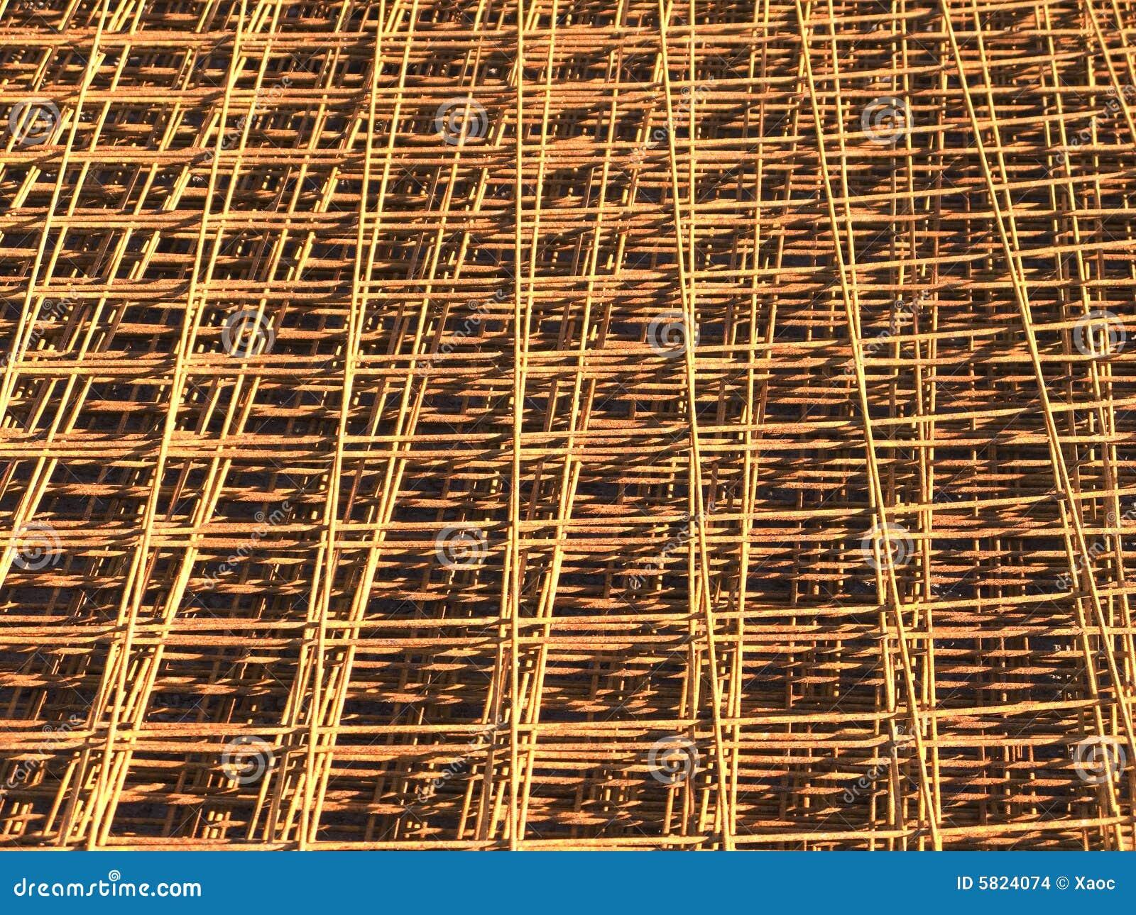 Steel Reinforcement Bars : Close up of reinforcing steel bar mesh stock images