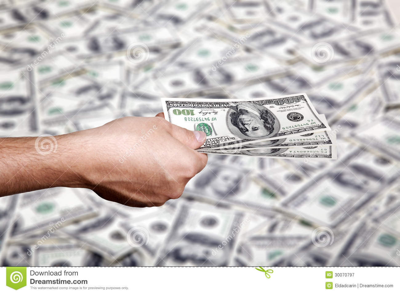 Handing Money over Cash Background