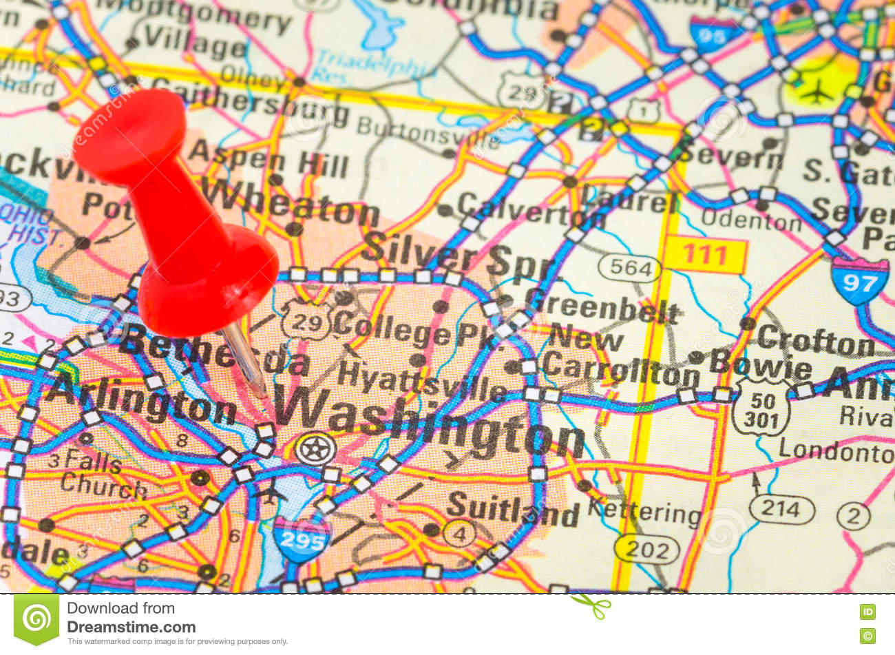 Close up of a road map with a red pushpin stock image image of close up of a road map with the city of washington dc highlighted by a red pushpin publicscrutiny Image collections