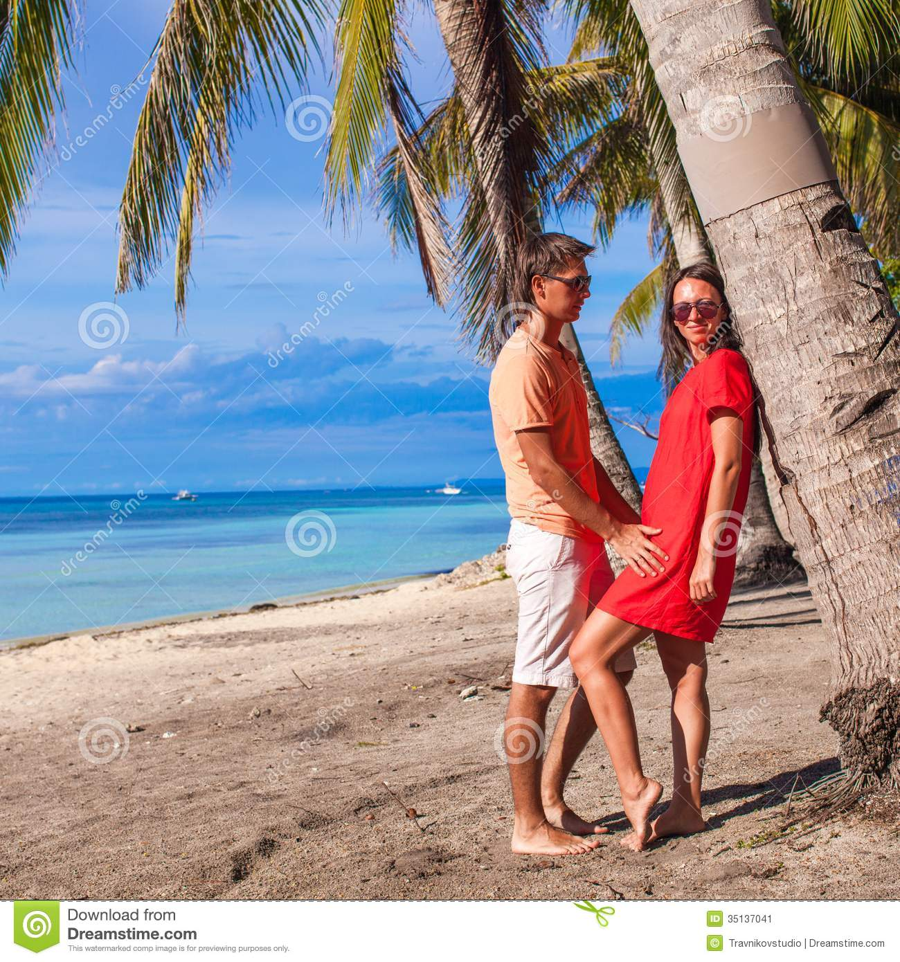 Couple At The Beach Stock Image Image Of Caucasian: Close Up Romantic Couple At Tropical Beach Near Stock