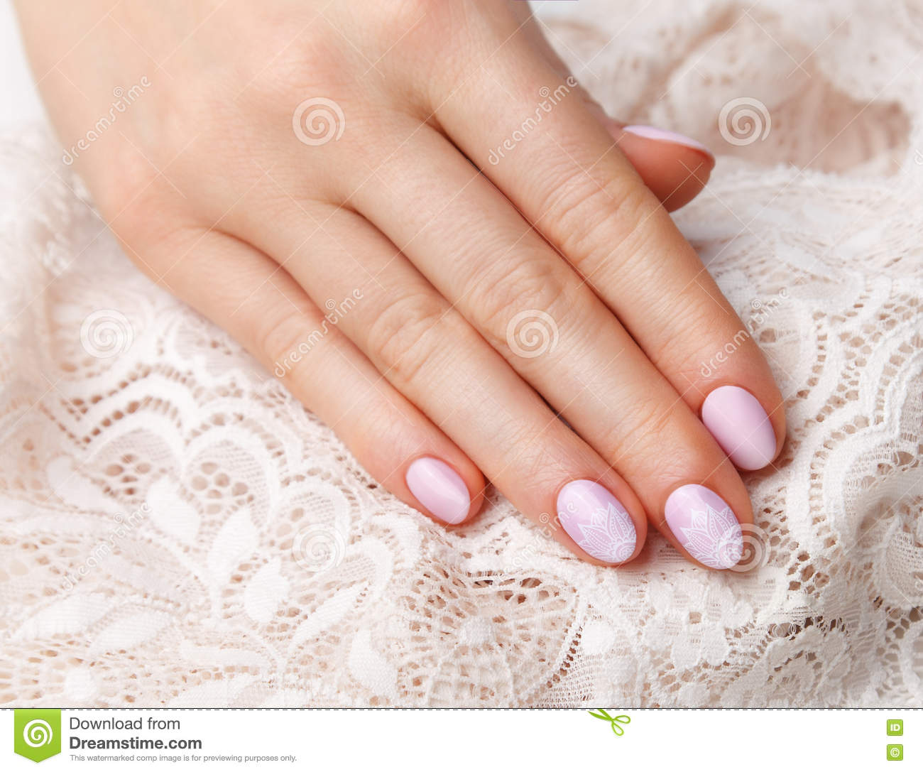 Close-up Of Romantic Vintage Style Nails Stock Image - Image of nail ...