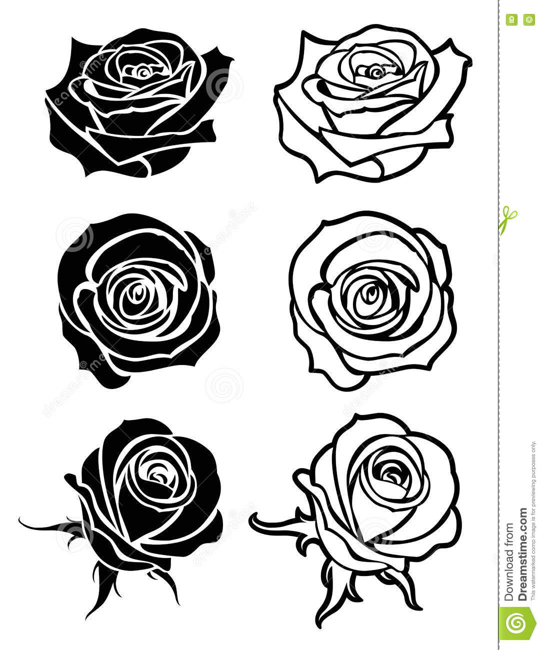 Close Up Rose Vector Tattoo, Logos, Floral Silhouettes ...