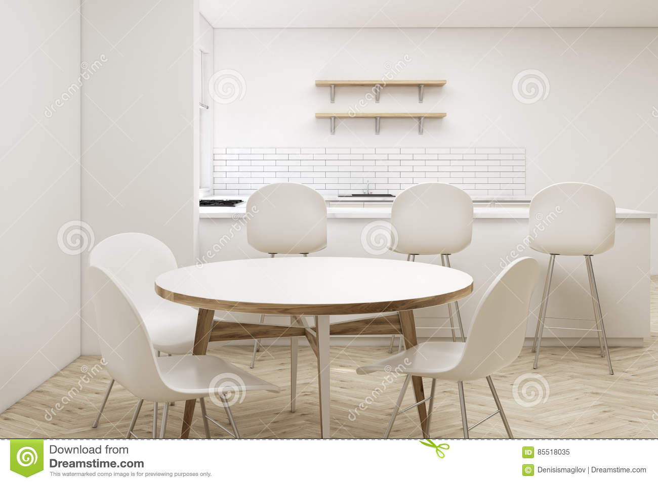 Close Up Of Round Kitchen Table Stock Illustration ...