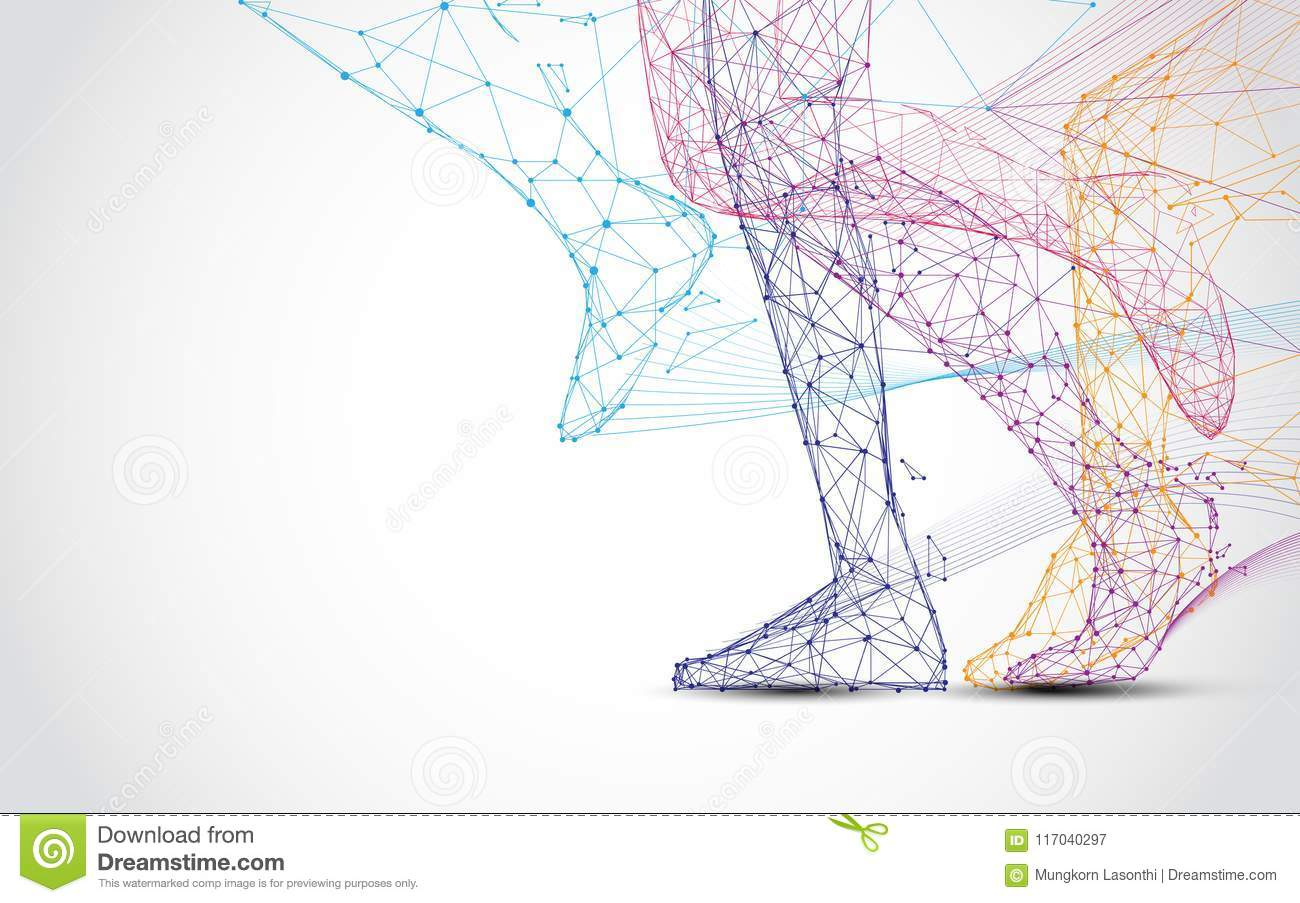 Close up of runner s legs run form lines and triangles, point connecting network on blue background.
