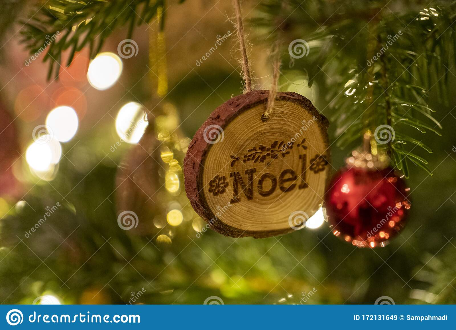 Rustic Christmas Tree Decoration Saying Noel Stock Image Image Of Illuminations Garland 172131649