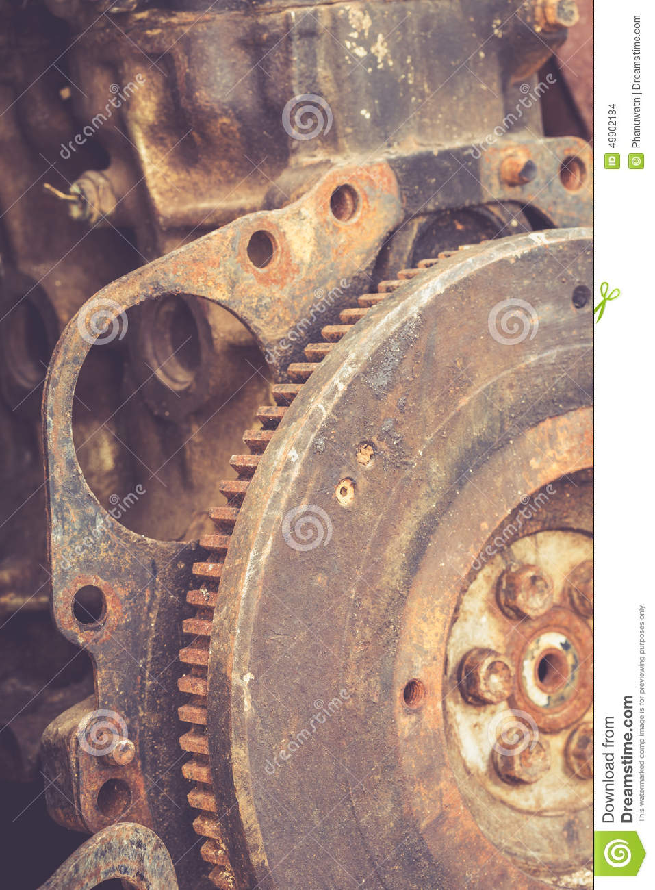 Old Engine Gears : Close up rusty gears royalty free stock image