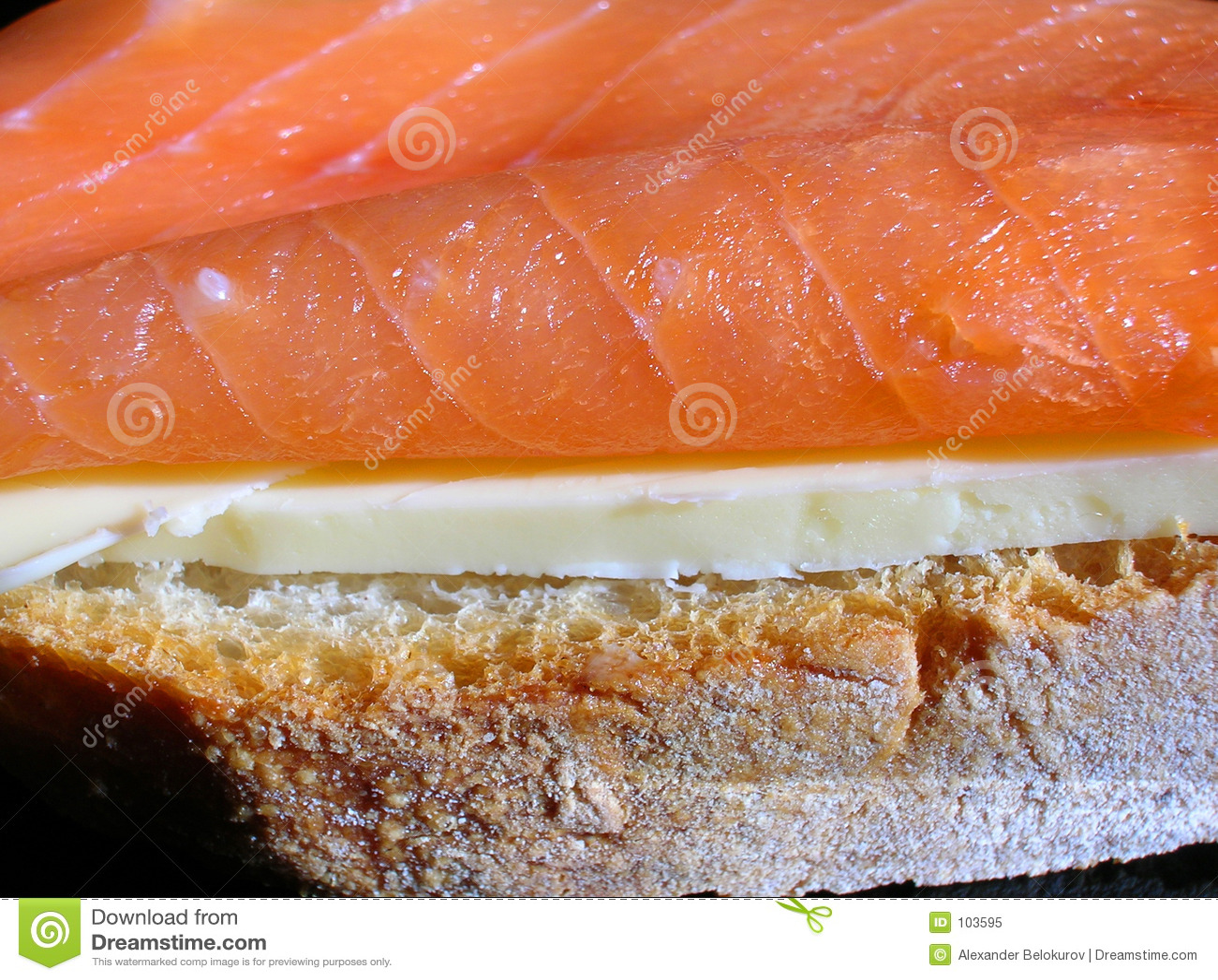 Close-up salmon fumado do sanduíche