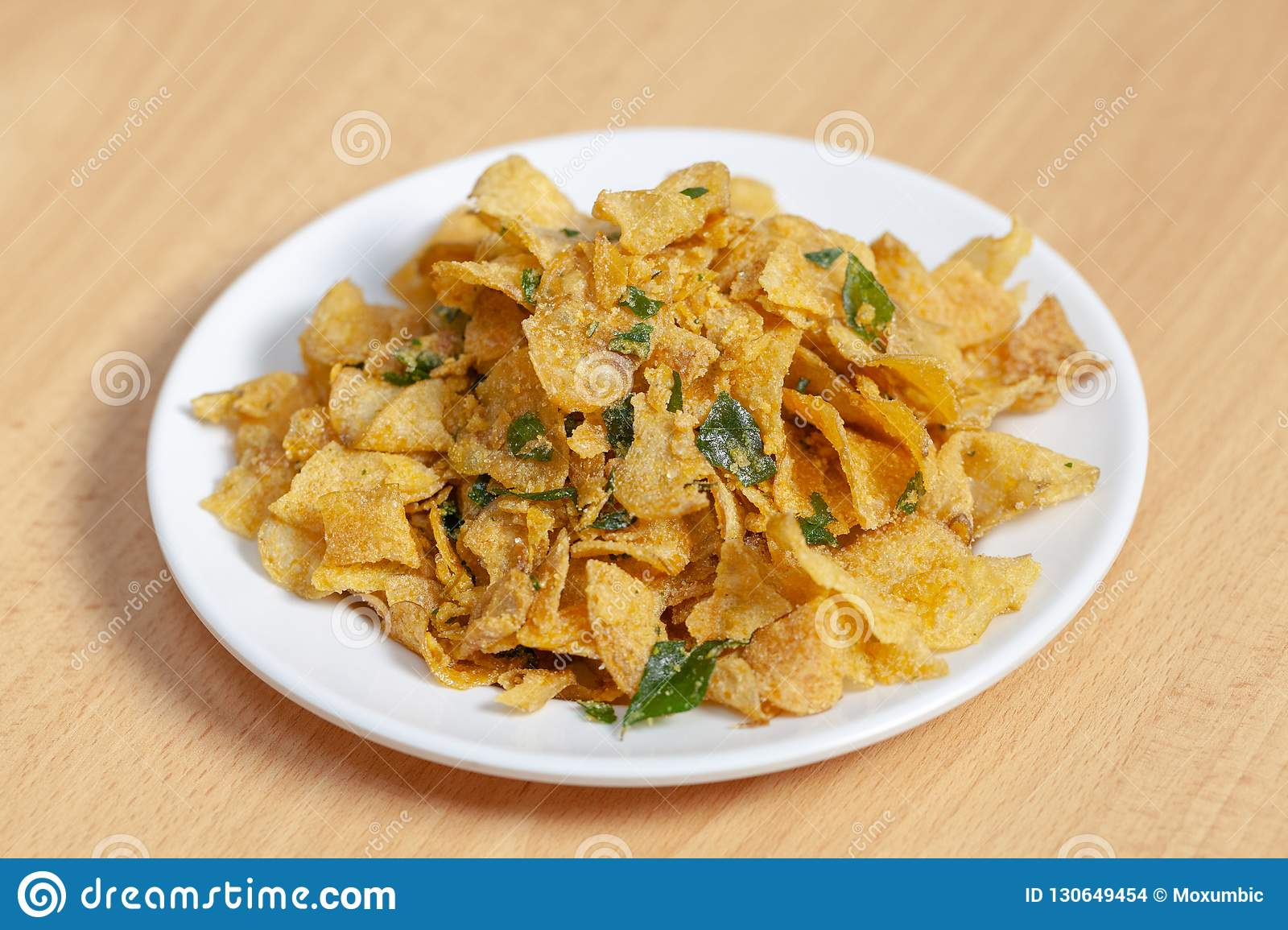 Salted Egg Potato Chips On Plate Stock Photo Image Of Fried Ingredient 130649454