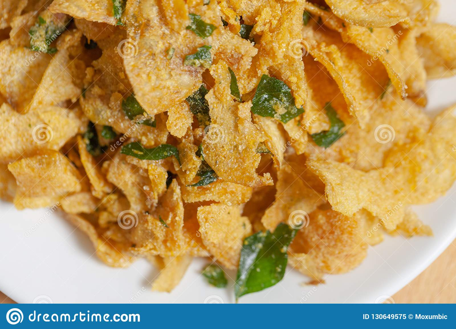 Salted Egg Potato Chips On Plate Stock Image Image Of Cucumber Fried 130649575