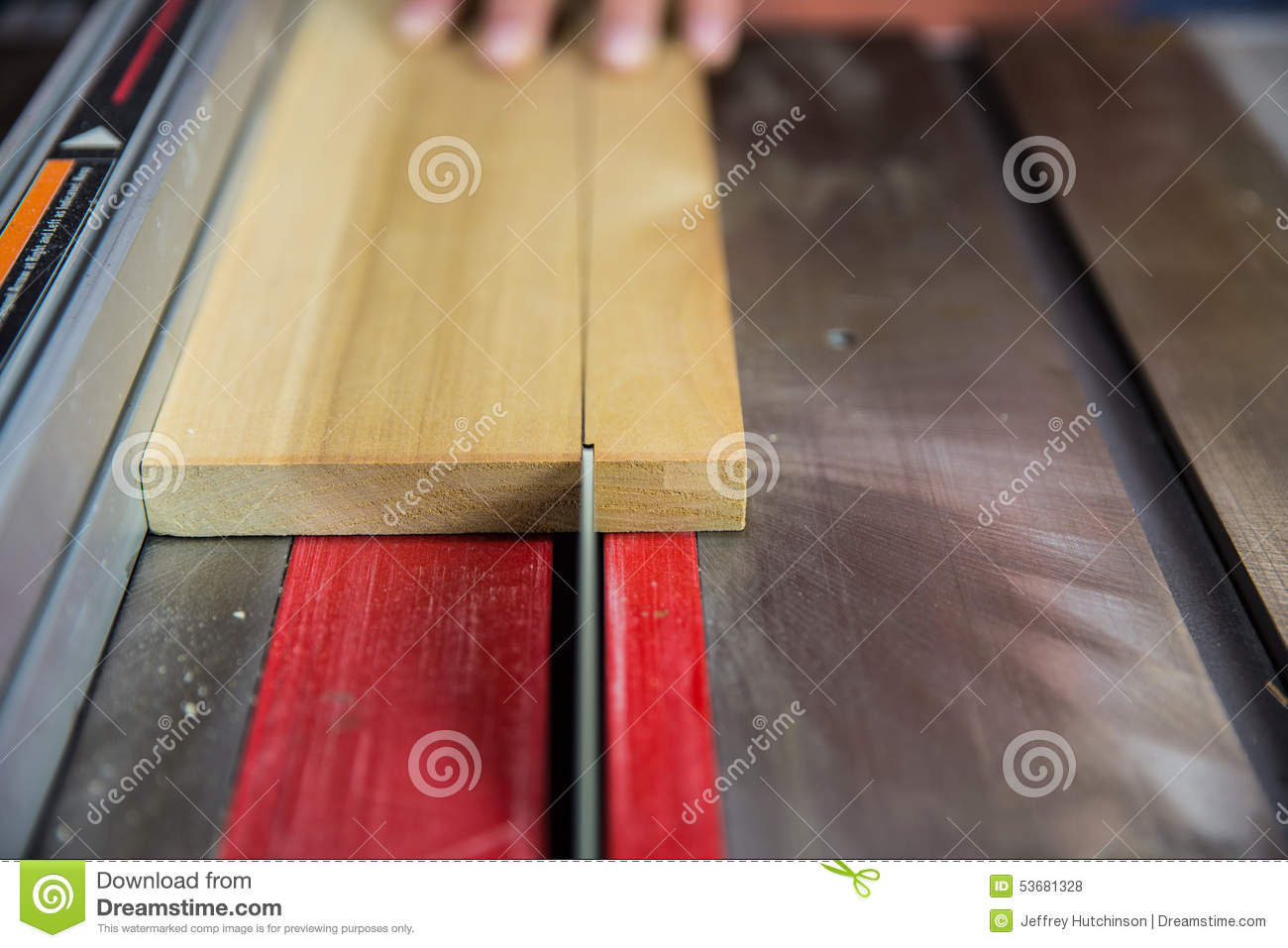 Close Up Of Saw Blade Cutting Wood On Table Saw Stock Photo Image