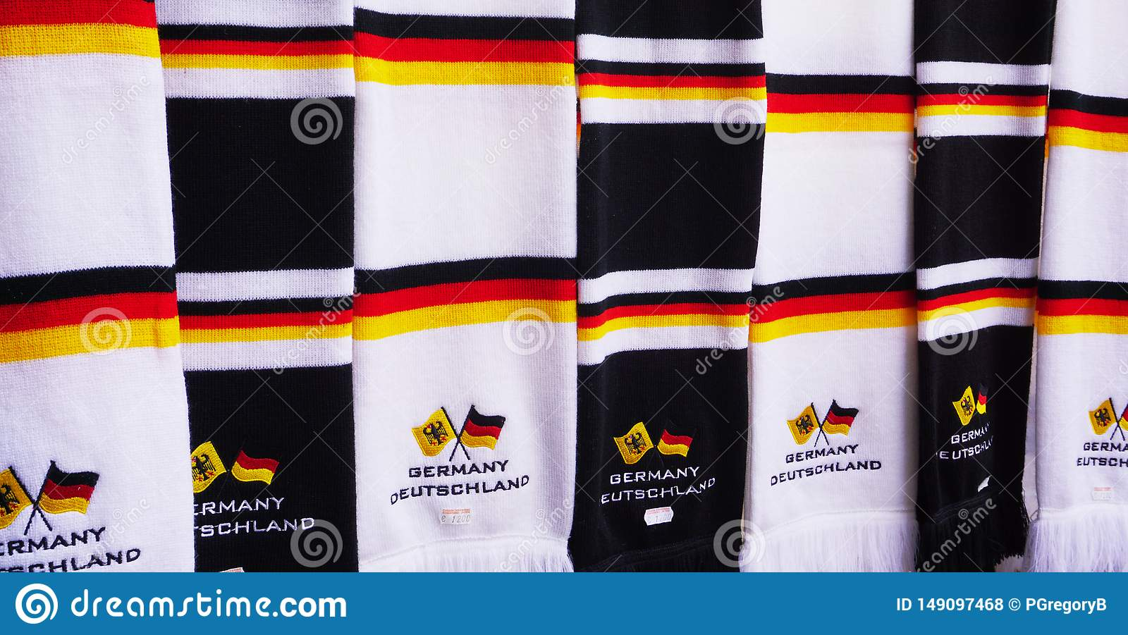 Close up of scarves with the colors of German Flag