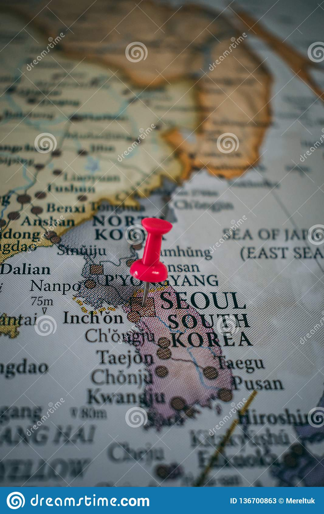 Picture of: Close Up Of Seoul Pin Pointed On The World Map With A Pink Pushpin Stock Image Image Of Location City 136700863