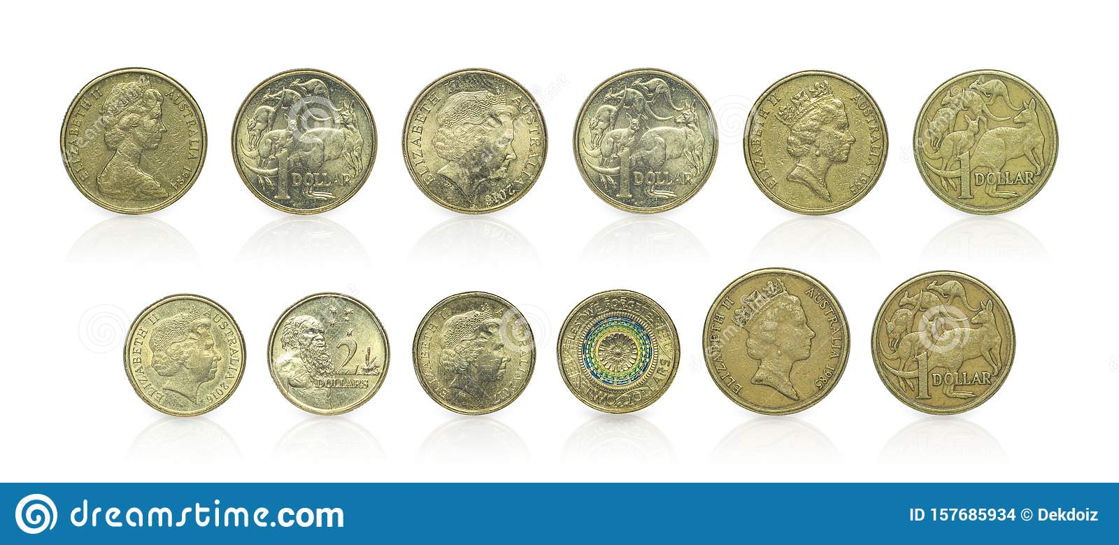 Close up - Set of Australian dollar coins islated on white background with clipping path. Reflection coin on white background. I