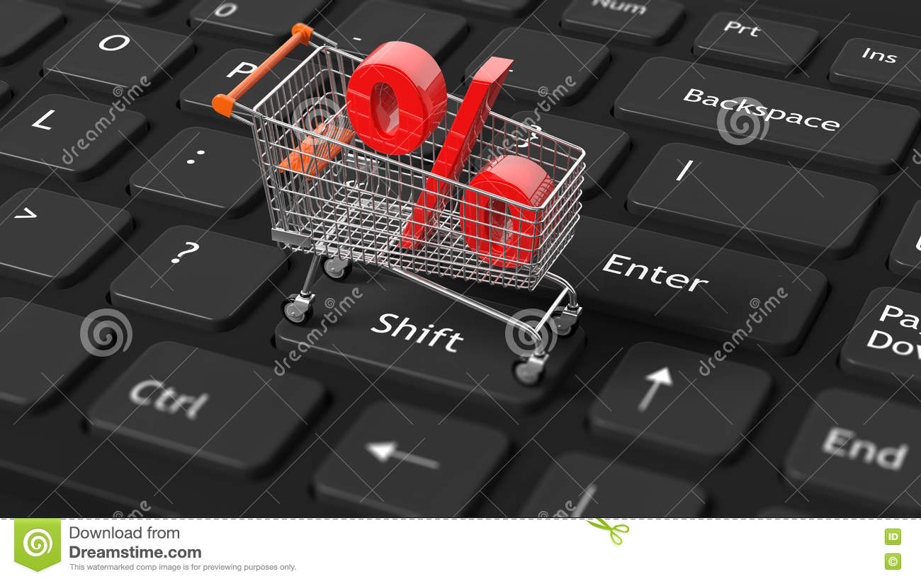 Close Up Of Shopping Cart With Red Percent Symbol On Keyboard Stock